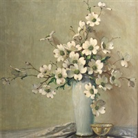 still life with dogwood blossoms by a.d. greer