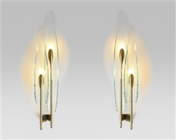 suite de trois appliques 'dahlia' / set of 3 dahlia wall-sconces by max ingrand