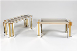 paire de tables basses rectangulaires en croix / pair of coffee tables by romeo rega