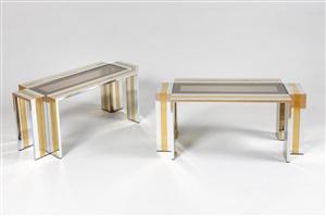 paire de tables basses rectangulaires en croix / pair of coffee tables by romeo rega