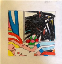 study for sunset nude (with franz kline) by tom wesselmann