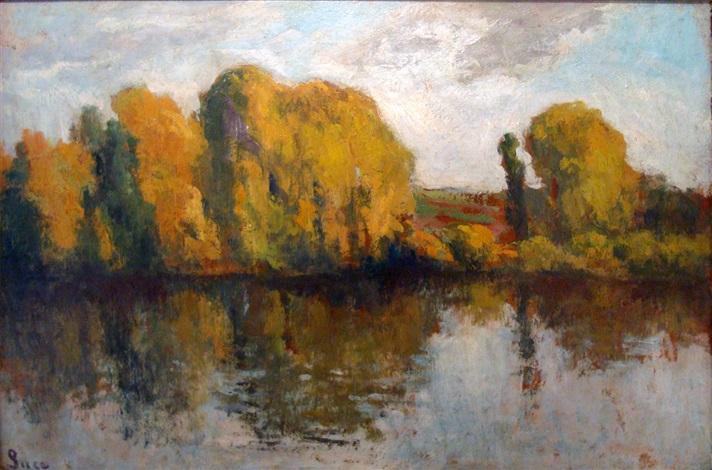river droite de la seine, rolleboise by maximilien luce