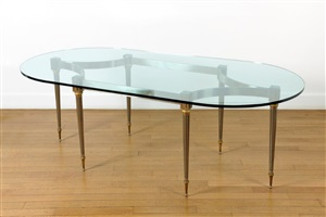 table de salle à manger au plateau de verre ovale / oval dining-room table by santangelo