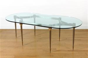 table de salle à manger au plateau de verre ovale / oval dining-room table by santangelo