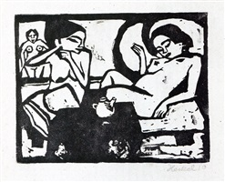zwei mädchen im atelier (two girls in the studio) by erich heckel