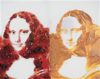 double mona lisa (peanut butter + jelly), after warhol series by vik muniz