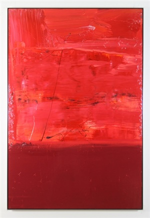 red scrape & block painting by anthony hunter