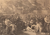 death of admiral horatio nelson on hms victory at the battle of trafalgar, 1805 by benjamin west