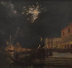 fireworks, venice by gaston la touche