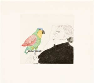 """félicité sleeping, with parrot, illustration for """"a simple heart"""" by gustave flaubert by david hockney"""