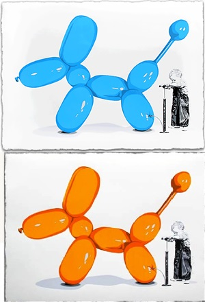 poppy, orange - blue by mr. brainwash