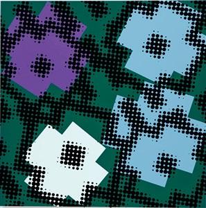 flwrs (offset, purple, white, light blue, dark green bg) by shinji murakami