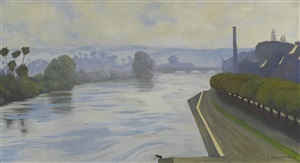 la seine à mantes by félix edouard vallotton