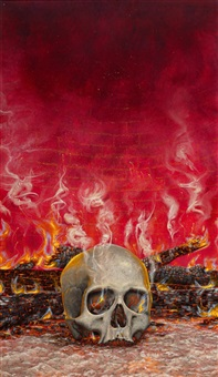 burning skull by chris achilleos