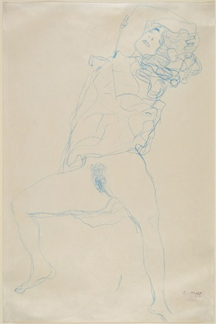 semi-nude with arms crossed over head by gustav klimt