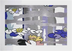 water lilies pond with reflection by roy lichtenstein