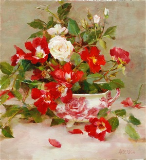 roses and english pink (sold) by kathy anderson