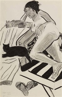 model with cats by joan brown