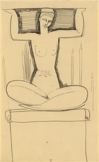 seated caryatid with lighted candles by amedeo modigliani