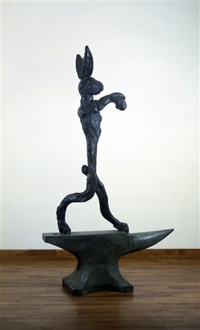 large boxing hare on anvil by barry flanagan