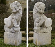 pair of stone buddhistic lions, fu dogs