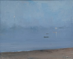 harbor fog, evening (sold) by christopher volpe
