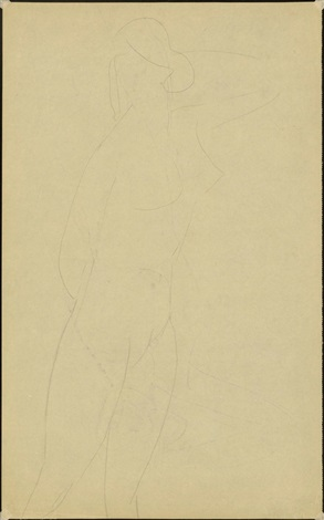 standing nude, left arm raised (verso) by amedeo modigliani