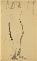 standing nude, right arm bent by amedeo modigliani