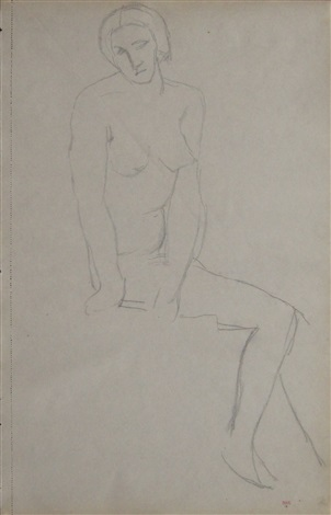 seated nude (recto) by amedeo modigliani