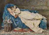 a young lady reclining on a blue satin robe by madeleine jeanne lemaire