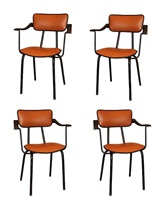 rare set of 4 armchairs, france by jacques adnet