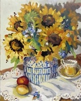 sunflowers with lemon on lace by susan mackey