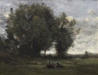 le repos dans la prairie by jean-baptiste-camille corot