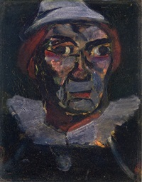 clown de face by georges rouault