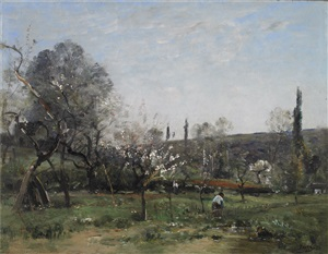 flowering appletrees by louis aimé japy