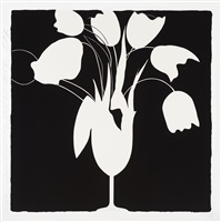 white tulips and vase, feb 25, 2014 by donald sultan