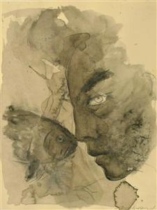 berührung (kopf mit fisch) by angela hampel