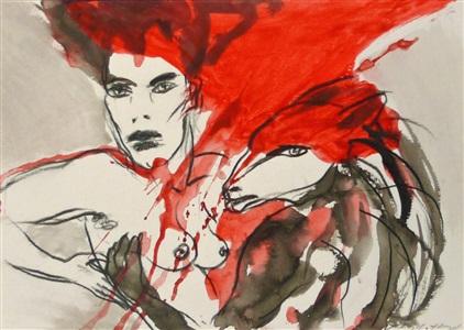 frau mit wolf (rot - schwarz) by angela hampel