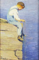 young boy string fishing by mabel may woodward