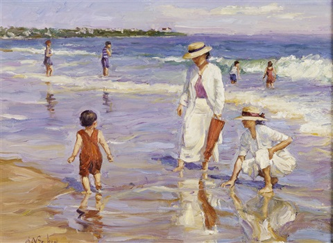 the reluctant bather, easton's beach, newport by brian a. becken
