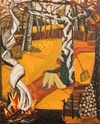 fall burning leaves by david bates
