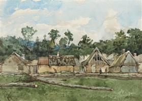 maisons à oisême by henri joseph harpignies