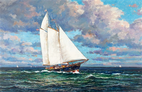 """nor"" east winds, off the camden, maine coast by wayne beam morrell"