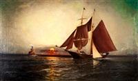 sunrise, ny harbor by elisha taylor baker