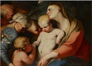 sainte famille avec sainte elisabeth et saint jean-baptiste adorant jésus by lubin baugin