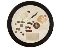 trompe-l'œil aux pièces de monnaie sur le plateau d'un guéridon by louis léopold boilly