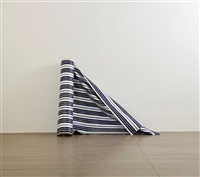 a roll of blue and white striped cloth by hu qingyan