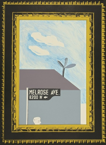 picture of melrose avenue in an ornate gold frame<br /> a hollywood collection 4 by david hockney