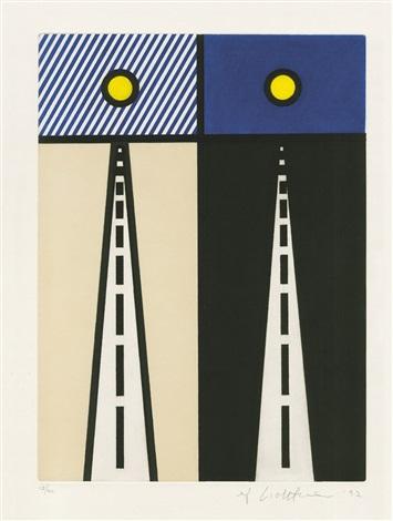 illustration for auto poésie: en cavale de bloomington aus la nouvelle chute de l'amérique (the new fall of america) by roy lichtenstein