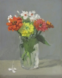 zinnias and white flowers in a glass jar by robert kulicke